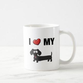 Caneca De Café Eu amo meu dachshund (o preto)