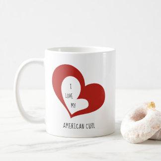 Caneca De Café Eu amo meu gato americano da onda