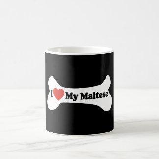 Caneca De Café Eu amo meu maltês - osso de cão