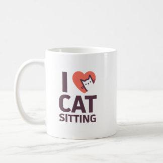 Caneca De Café Eu amo o assento do gato