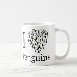 Caneca De Café Eu amo o copo do coração dos pinguins