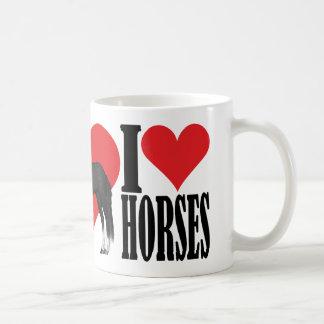 Caneca De Café Eu amo o preto/branco do ~ dos cavalos