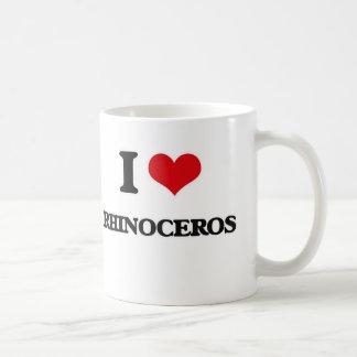 Caneca De Café Eu amo o rinoceronte