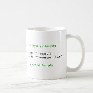 Caneca De Café Eu codifico. Conseqüentemente, eu sou. A filosofia