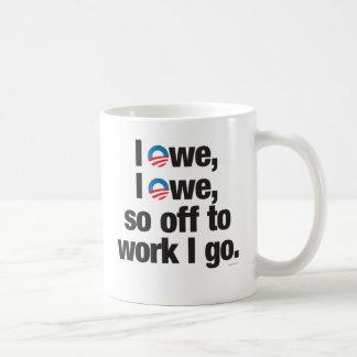 Caneca De Café Eu devo, mim devo, tão fora ao trabalho que eu vou