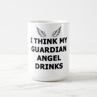 Caneca De Café Eu penso minhas bebidas do anjo-da-guarda