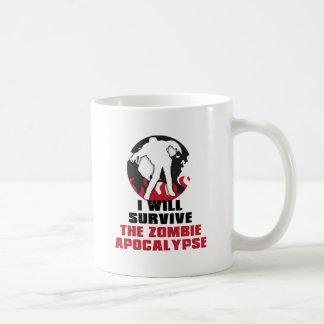 Caneca De Café Eu sobreviverei ao apocalipse do zombi