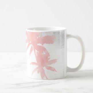 Caneca De Café Eu te amo à praia & à madeira traseira da palmeira