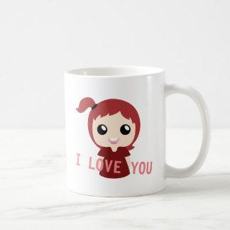 Caneca De Café Eu te amo com cor vermelha