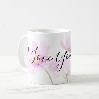 Caneca De Café Eu te amo tipografia da mamã em floral rosa pálido