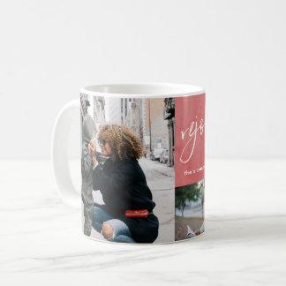 Caneca De Café Exulte e seja colagem vermelha contente da foto da