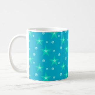 Caneca De Café Fantasia azul da sereia das bolhas estrelados das