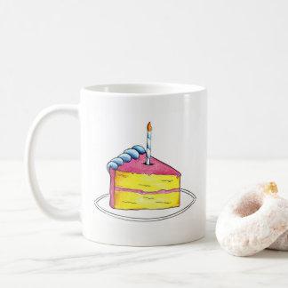 Caneca De Café Favor personalizado vela do bolo do rosa do feliz
