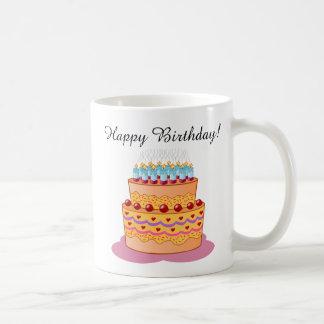 Caneca De Café Feliz aniversario! Bolo de aniversário doce