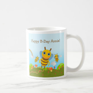 Caneca De Café Feliz aniversario com abelhas do mel