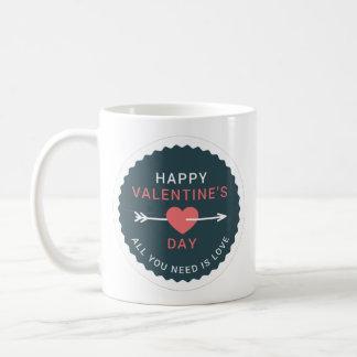 Caneca De Café Feliz dia dos namorados do coração da seta