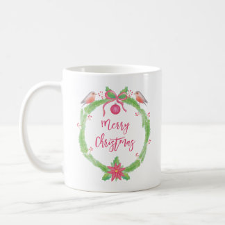 Caneca De Café Feliz Natal da grinalda do azevinho da aguarela