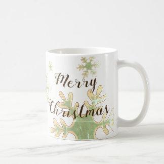 Caneca De Café Feriado do branco do floco de neve do Feliz Natal
