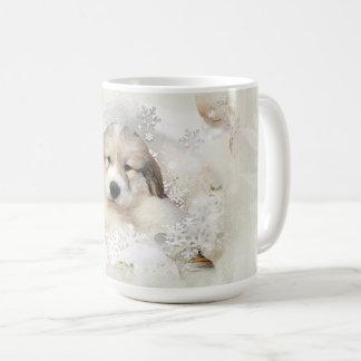 Caneca De Café Feriado II do filhote de cachorro da aguarela de