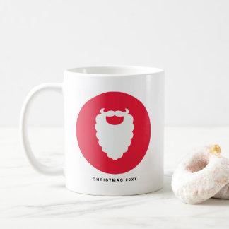 Caneca De Café Feriado moderno da barba vermelha e branca do