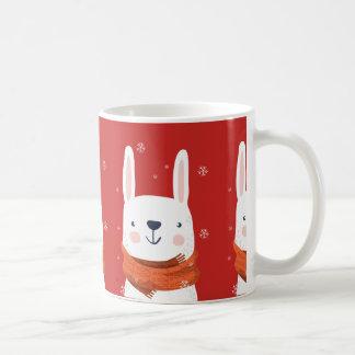 Caneca De Café Feriados do coelho da neve