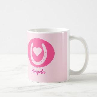 Caneca De Café ferradura e coração cor-de-rosa
