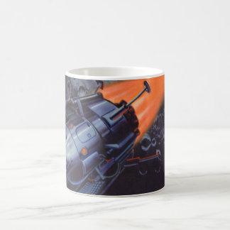 Caneca De Café Ficção científica do vintage, lua Rocket que sopra