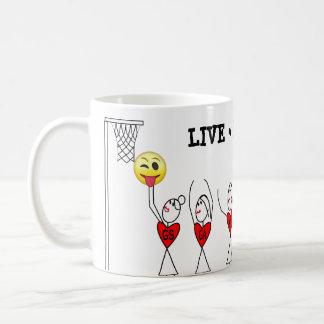 Caneca De Café Figura Netball da vara do divertimento dos