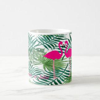 Caneca De Café Flamingos cor-de-rosa adoráveis, folhas de