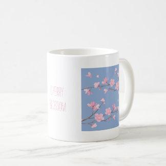 Caneca De Café Flor de cerejeira - azul da serenidade