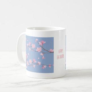 Caneca De Café Flor de cerejeira - azul da serenidade - FELIZ