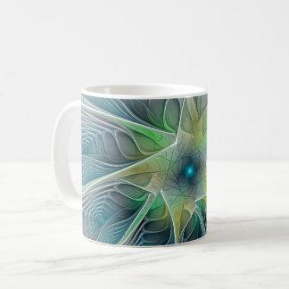 Caneca De Café Flor moderna do Fractal do verde azul da fantasia