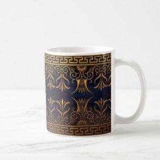 Caneca De Café Flor-ouro grego da chave e do Lotus