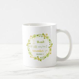 caneca de café floral da bíblia dos philippians da