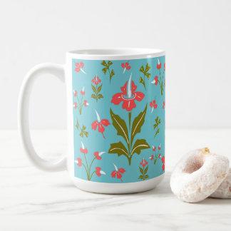 Caneca De Café Flores azuis brancas verdes cor-de-rosa florais do