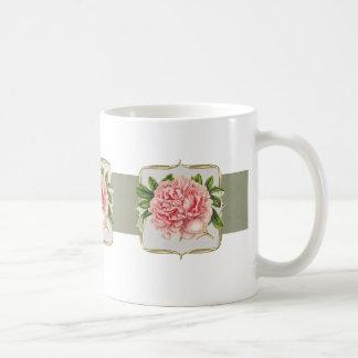 Caneca De Café Flores cor-de-rosa do vintage