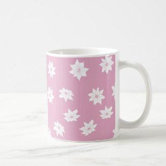 Caneca De Café Flores cor-de-rosa e brancas