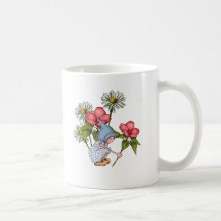 Caneca De Café Flores da colheita da menina do gnomo, arte de