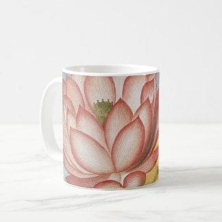 Caneca De Café Flores de Lotus do vintage com folhas em uma lagoa