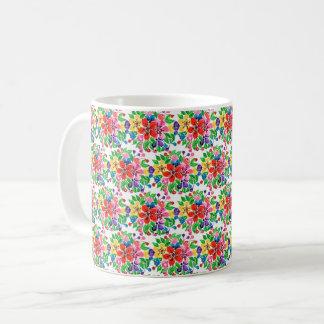 Caneca De Café Flores do arco-íris da aguarela