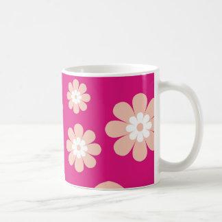 Caneca De Café Flores do pêssego da modificação no rosa