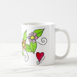 Caneca De Café Flores e um coração