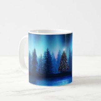 Caneca De Café Floresta calma do Xmas da árvore de Natal