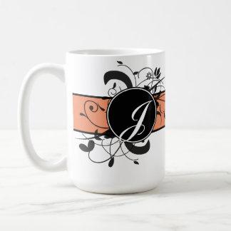 Caneca De Café Flourish extravagante personalizado Monogrammed