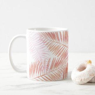 Caneca De Café Folhas de palmeira do rosa & do pêssego