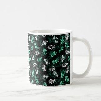 Caneca De Café Folhas de palmeira verdes e brancas