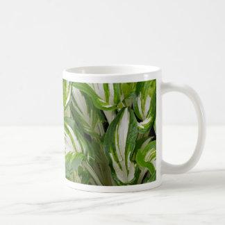 Caneca De Café Folhas listradas verdes e brancas do hosta