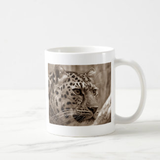 Caneca De Café Foto do Sepia HD do close up do leopardo