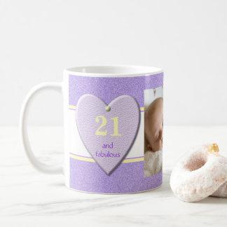 Caneca De Café Foto roxa personalizada do aniversário de 21 anos