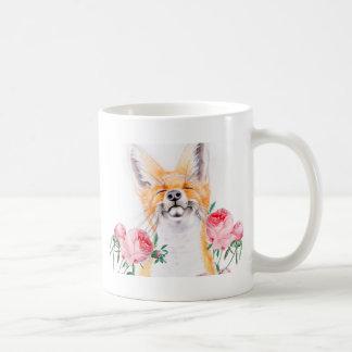 Caneca De Café Foxy feliz e rosas